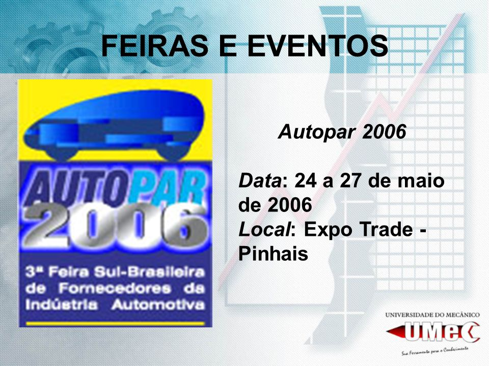 FEIRAS E EVENTOS Autopar 2006 Data: 24 a 27 de maio de 2006