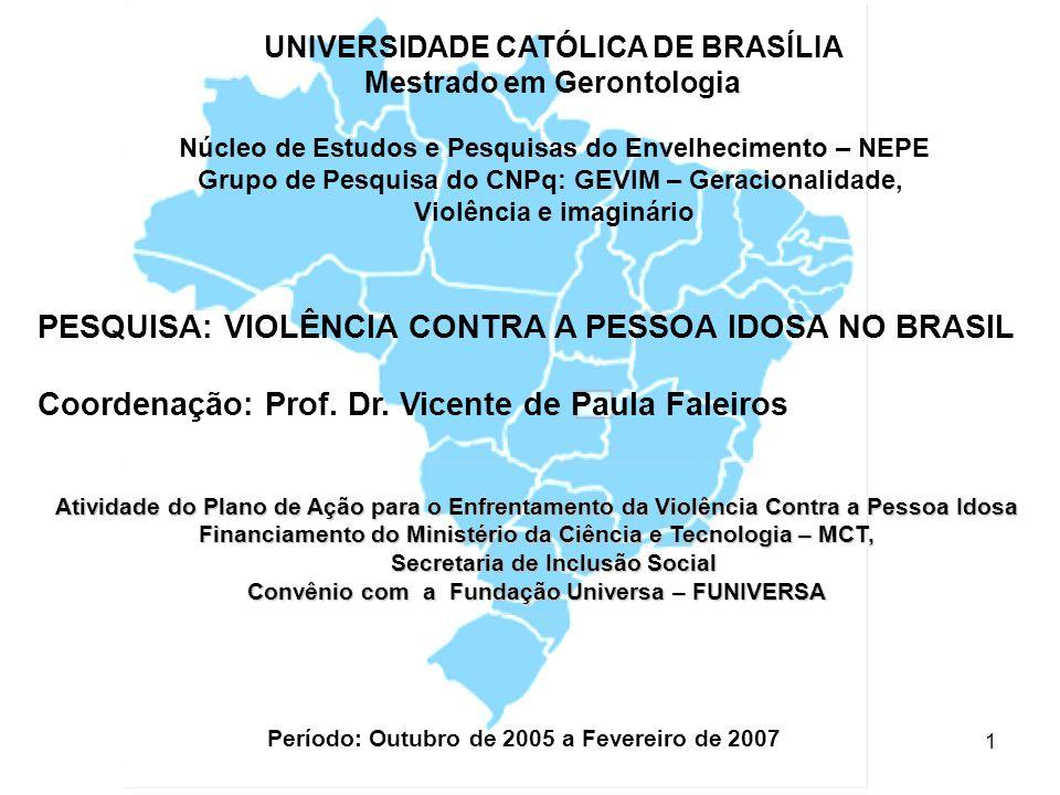 PESQUISA: VIOLÊNCIA CONTRA A PESSOA IDOSA NO BRASIL