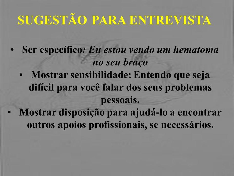 SUGESTÃO PARA ENTREVISTA