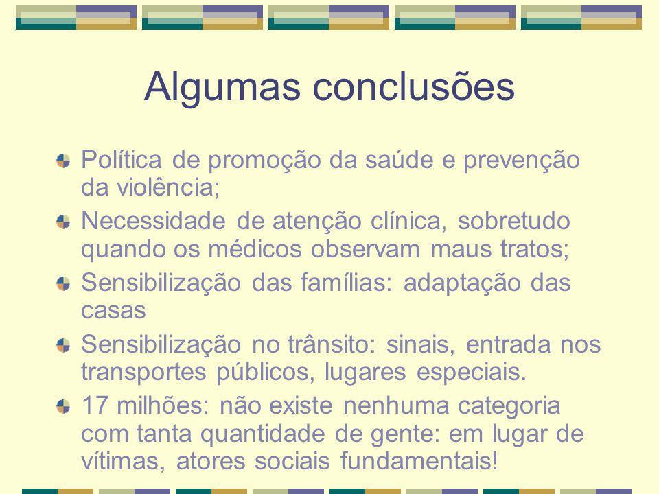 Algumas conclusões Política de promoção da saúde e prevenção da violência;