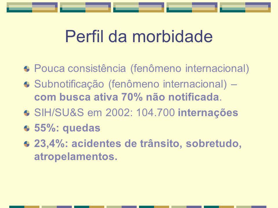 Perfil da morbidade Pouca consistência (fenômeno internacional)