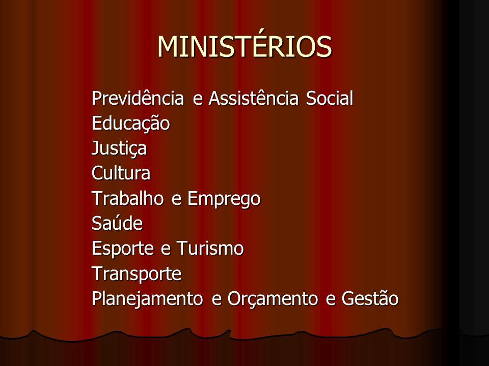 MINISTÉRIOS Previdência e Assistência Social Educação Justiça Cultura