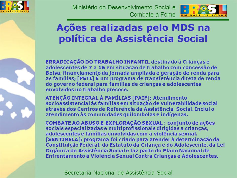 Ações realizadas pelo MDS na política de Assistência Social