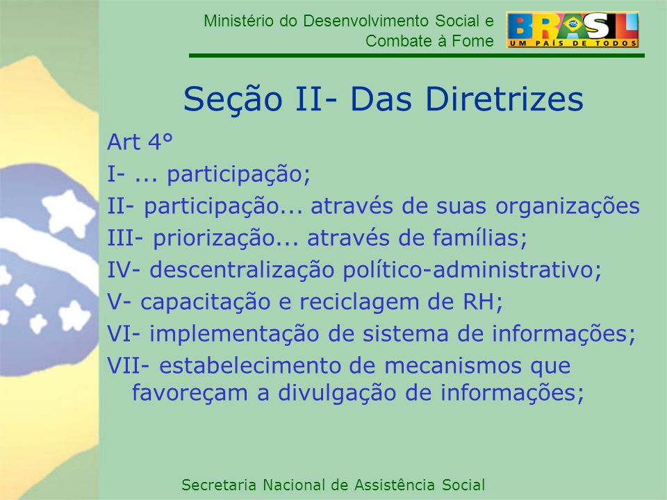 Seção II- Das Diretrizes