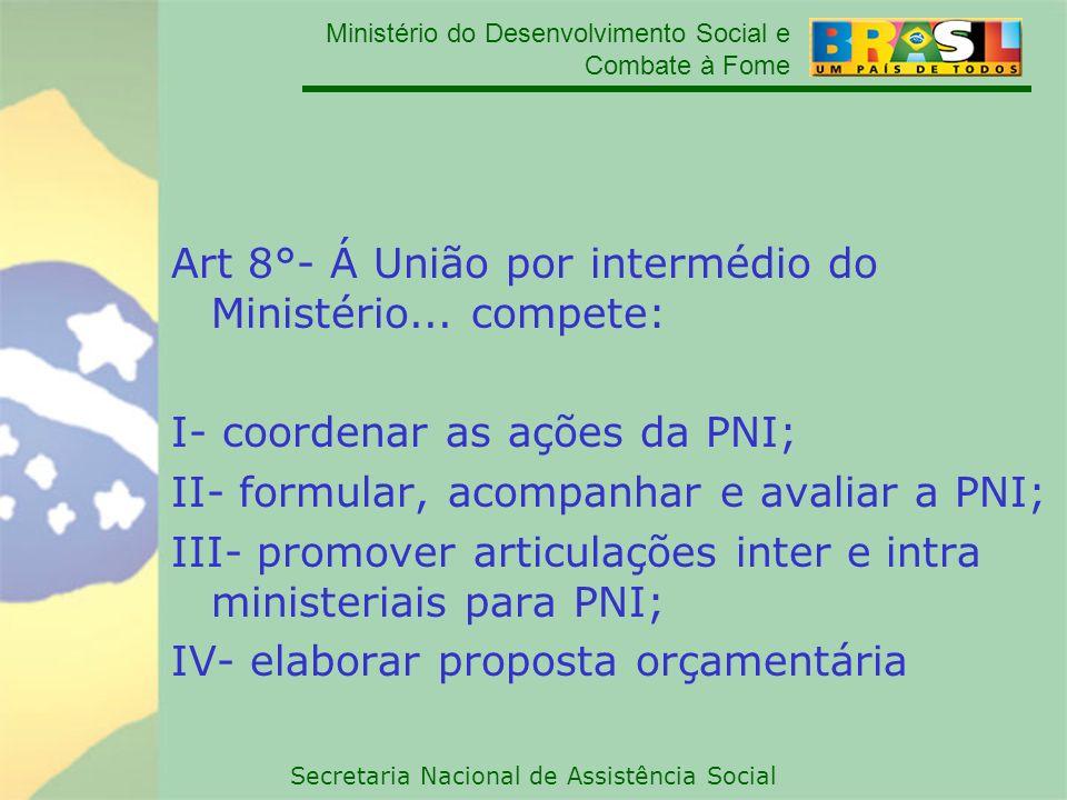 Art 8°- Á União por intermédio do Ministério... compete: