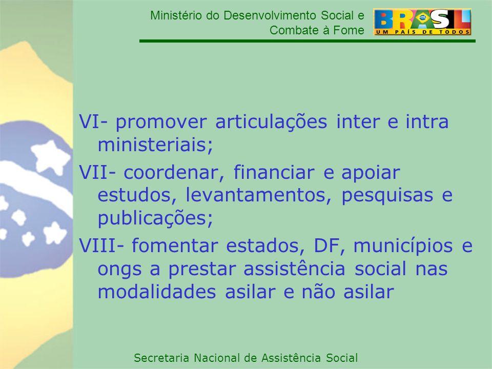 VI- promover articulações inter e intra ministeriais;