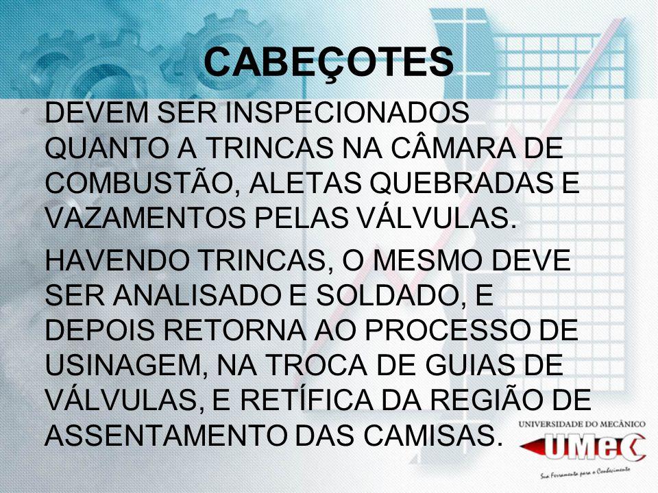 CABEÇOTES DEVEM SER INSPECIONADOS QUANTO A TRINCAS NA CÂMARA DE COMBUSTÃO, ALETAS QUEBRADAS E VAZAMENTOS PELAS VÁLVULAS.
