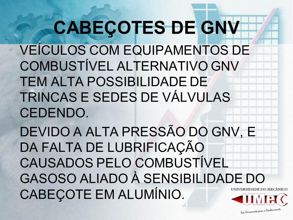CABEÇOTES DE GNVVEÍCULOS COM EQUIPAMENTOS DE COMBUSTÍVEL ALTERNATIVO GNV TEM ALTA POSSIBILIDADE DE TRINCAS E SEDES DE VÁLVULAS CEDENDO.