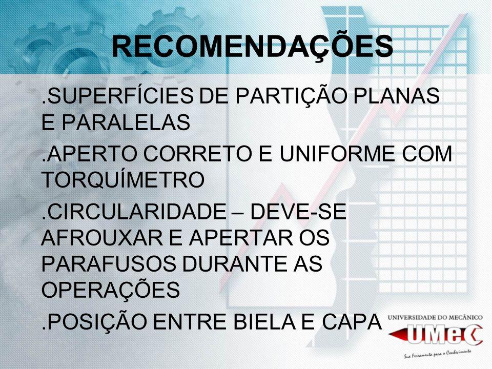 RECOMENDAÇÕES .SUPERFÍCIES DE PARTIÇÃO PLANAS E PARALELAS
