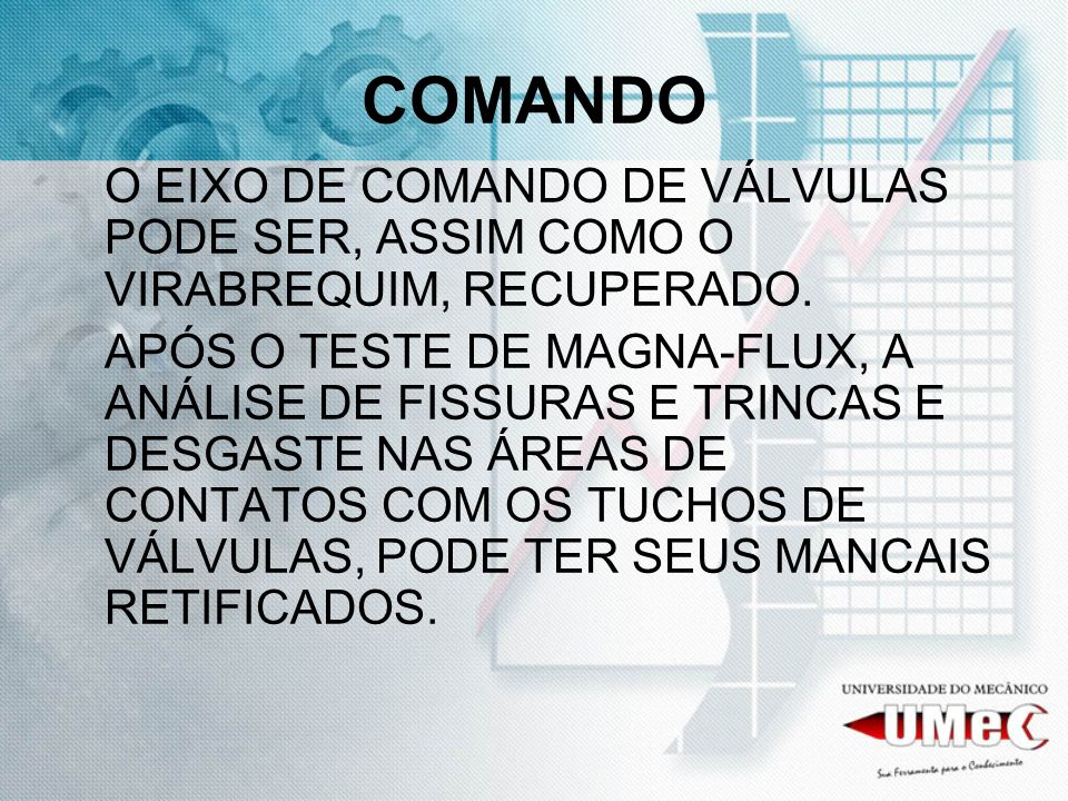 COMANDO O EIXO DE COMANDO DE VÁLVULAS PODE SER, ASSIM COMO O VIRABREQUIM, RECUPERADO.