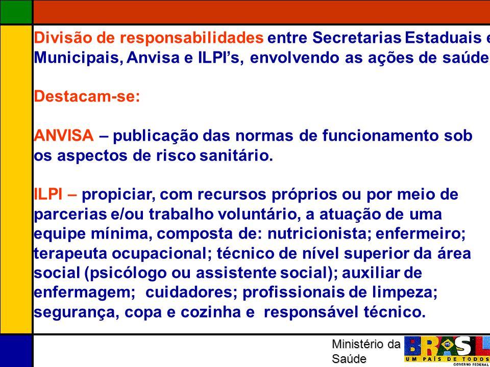 Divisão de responsabilidades entre Secretarias Estaduais e