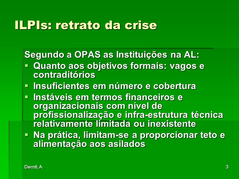 ILPIs: retrato da crise