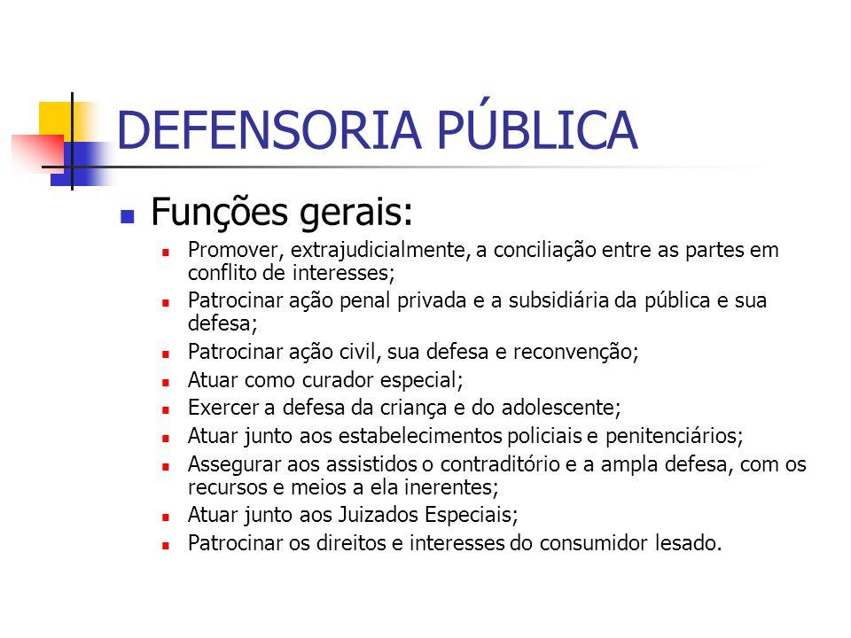 DEFENSORIA PÚBLICA Funções gerais: