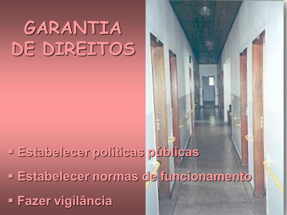 GARANTIA DE DIREITOS Estabelecer políticas públicas