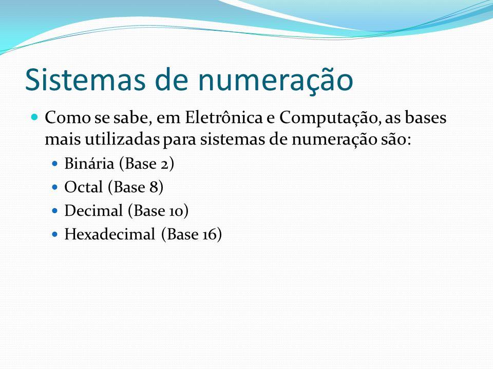 Sistemas de numeraçãoComo se sabe, em Eletrônica e Computação, as bases mais utilizadas para sistemas de numeração são:
