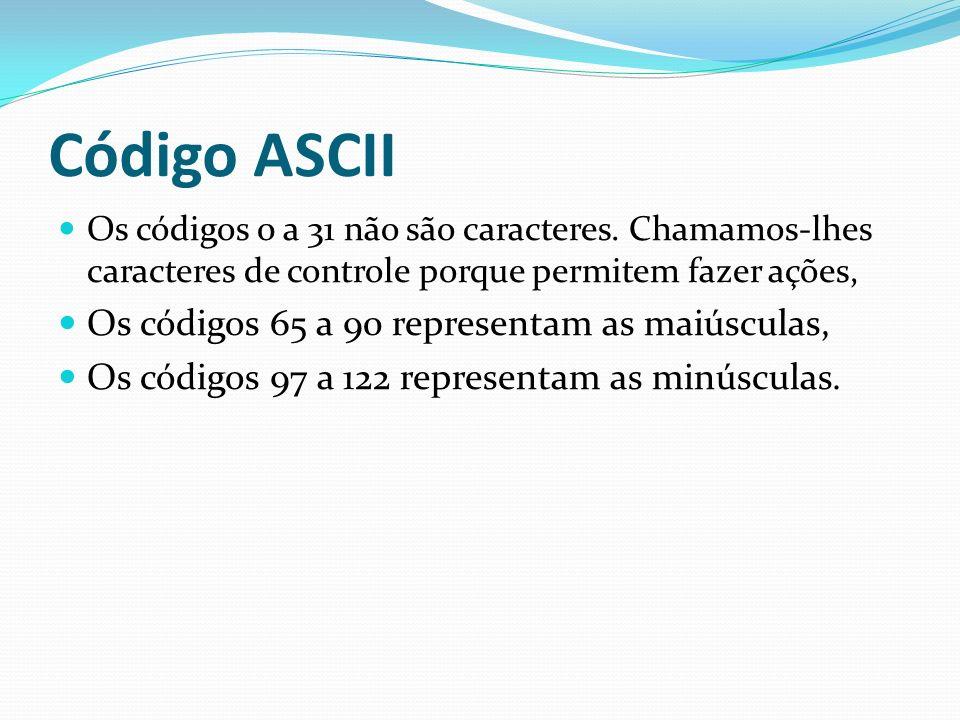 Código ASCII Os códigos 65 a 90 representam as maiúsculas,