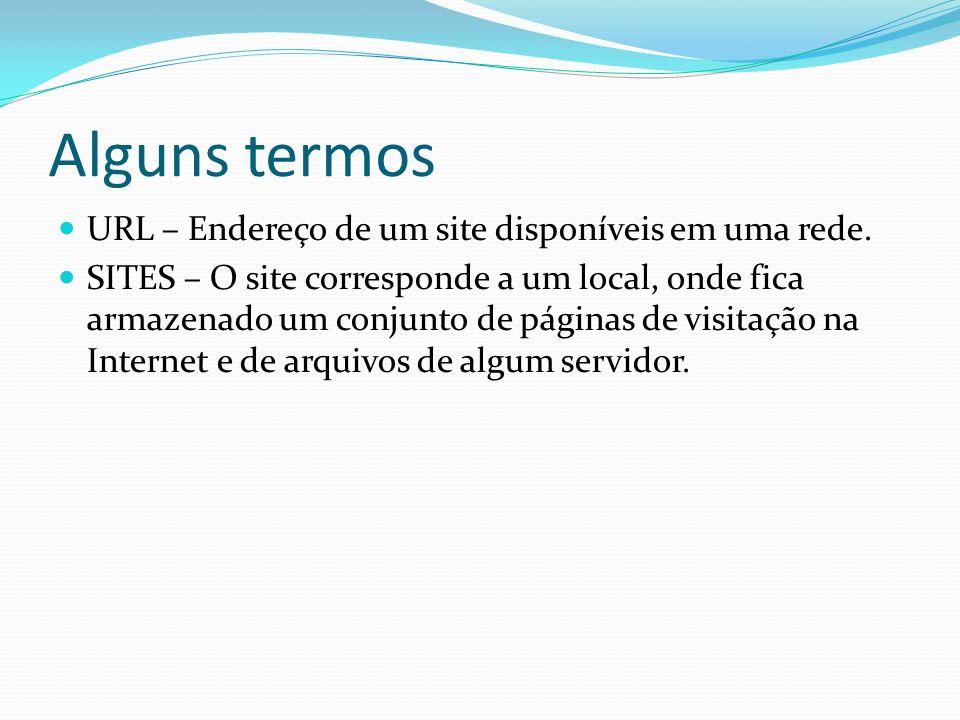 Alguns termos URL – Endereço de um site disponíveis em uma rede.