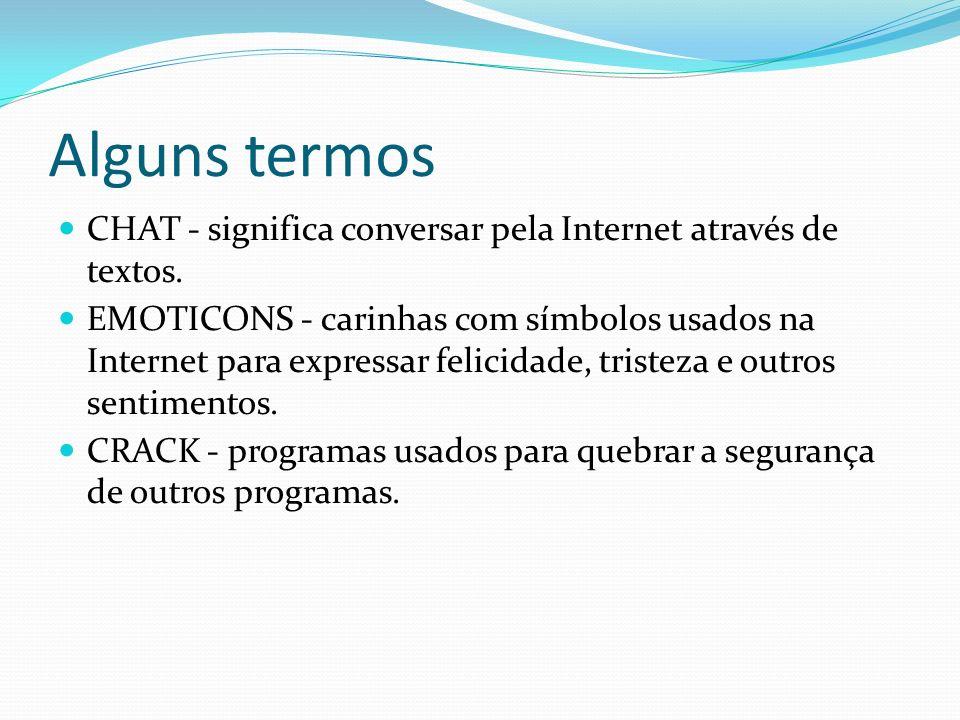 Alguns termos CHAT - significa conversar pela Internet através de textos.