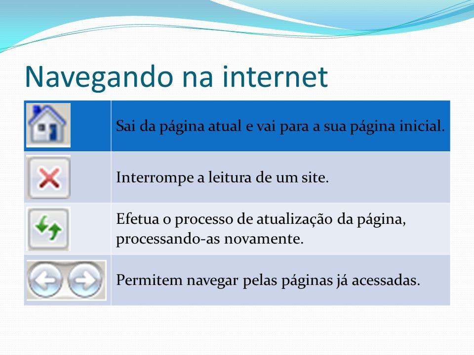 Navegando na internet Sai da página atual e vai para a sua página inicial. Interrompe a leitura de um site.