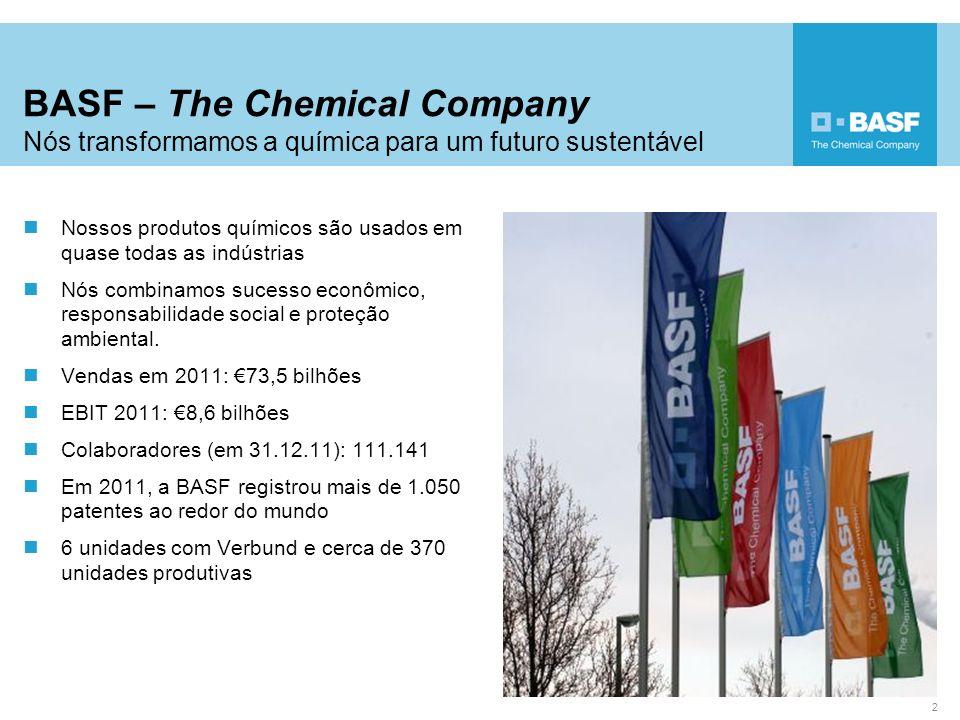 BASF – The Chemical Company Nós transformamos a química para um futuro sustentável