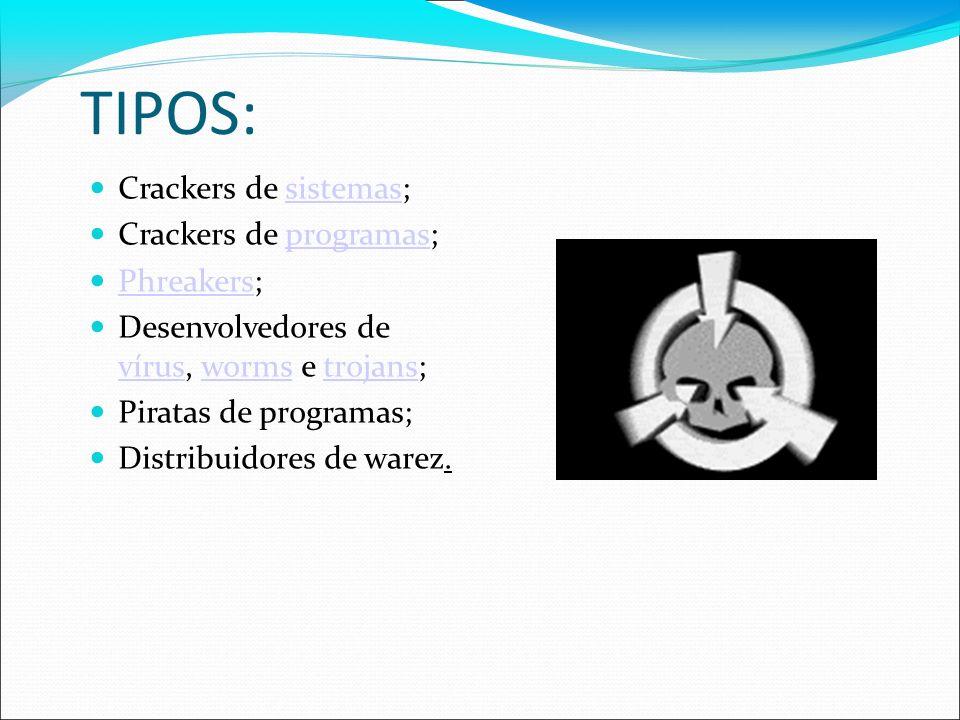 TIPOS: Crackers de sistemas; Crackers de programas; Phreakers;