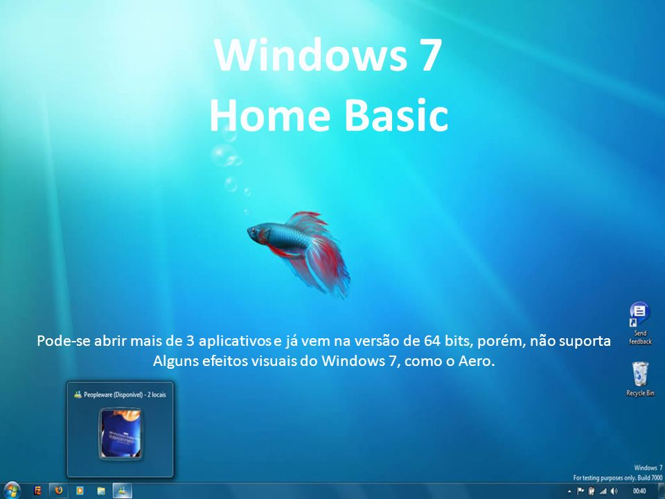 Alguns efeitos visuais do Windows 7, como o Aero.