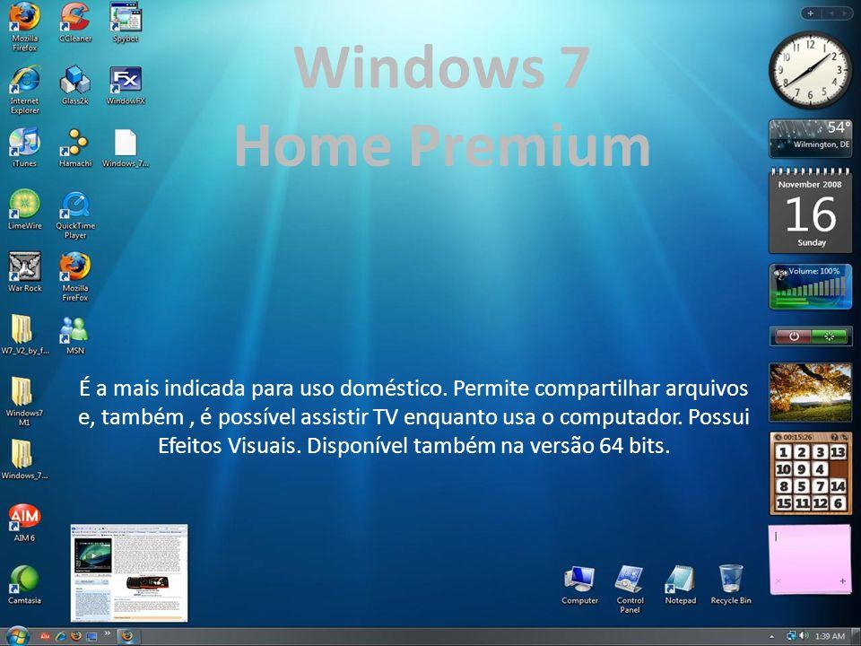 Windows 7 Home Premium. É a mais indicada para uso doméstico. Permite compartilhar arquivos.