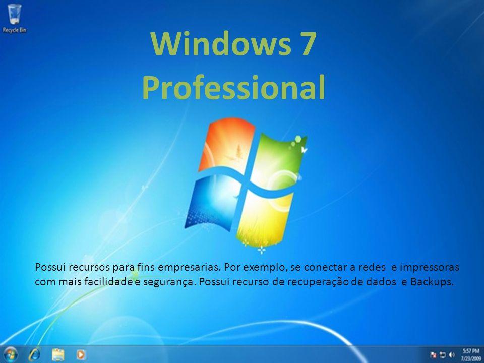 Windows 7 Professional. Possui recursos para fins empresarias. Por exemplo, se conectar a redes e impressoras.