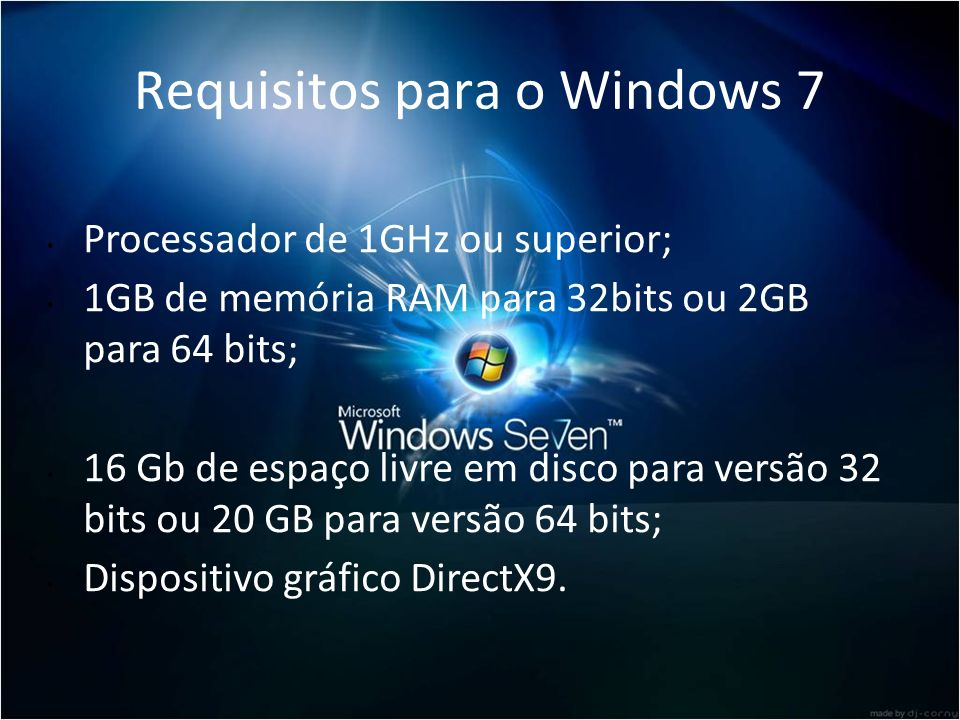 Requisitos para o Windows 7