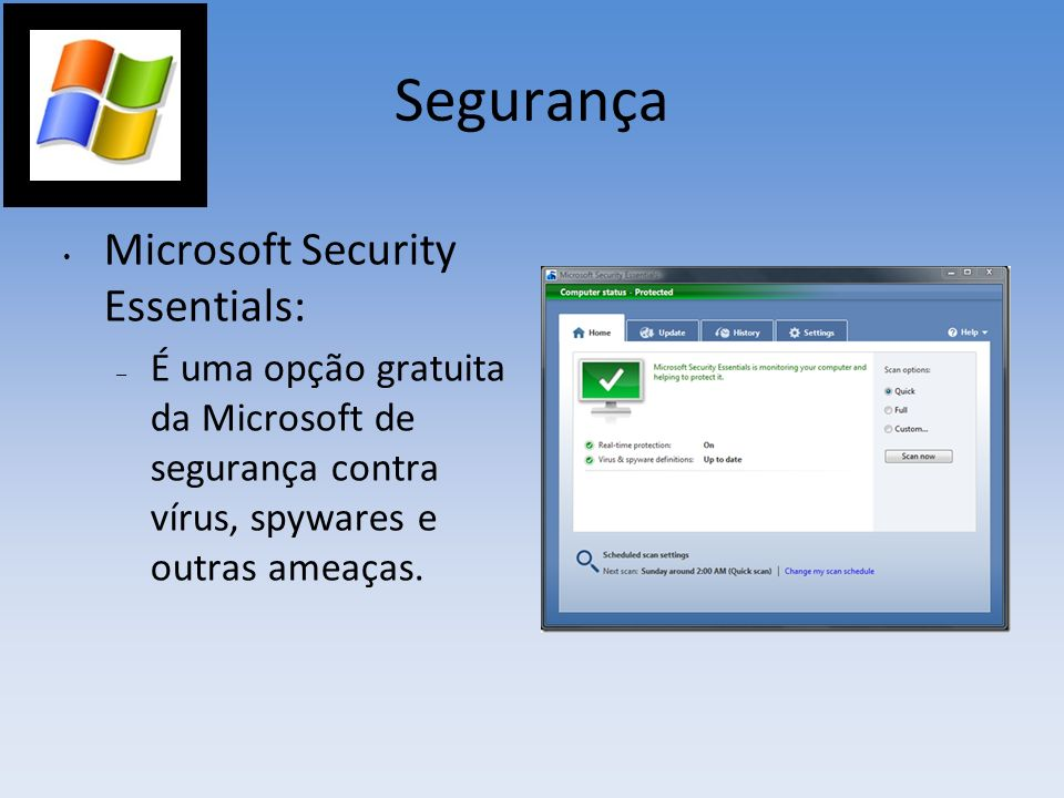 Segurança Microsoft Security Essentials: