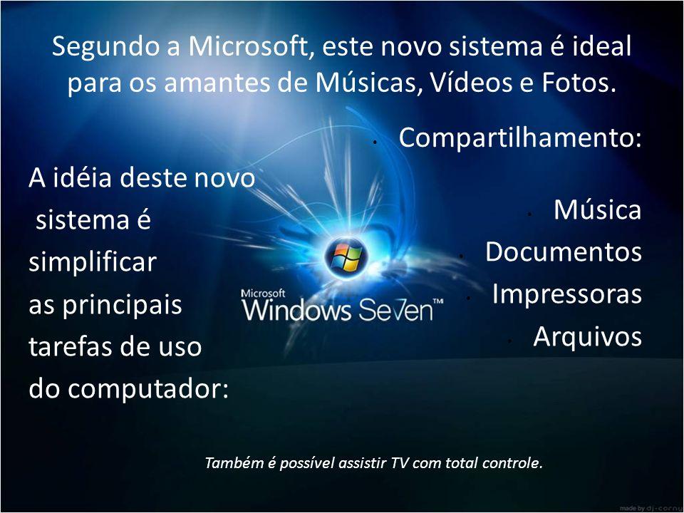 Segundo a Microsoft, este novo sistema é ideal para os amantes de Músicas, Vídeos e Fotos.