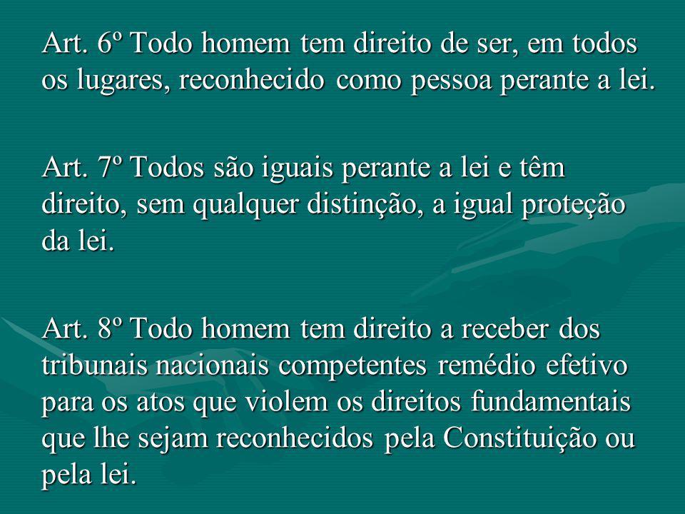 Art. 6º Todo homem tem direito de ser, em todos os lugares, reconhecido como pessoa perante a lei.