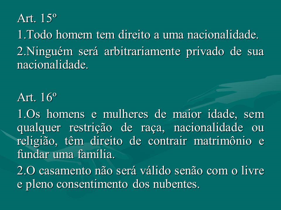 Art. 15º Todo homem tem direito a uma nacionalidade. Ninguém será arbitrariamente privado de sua nacionalidade.