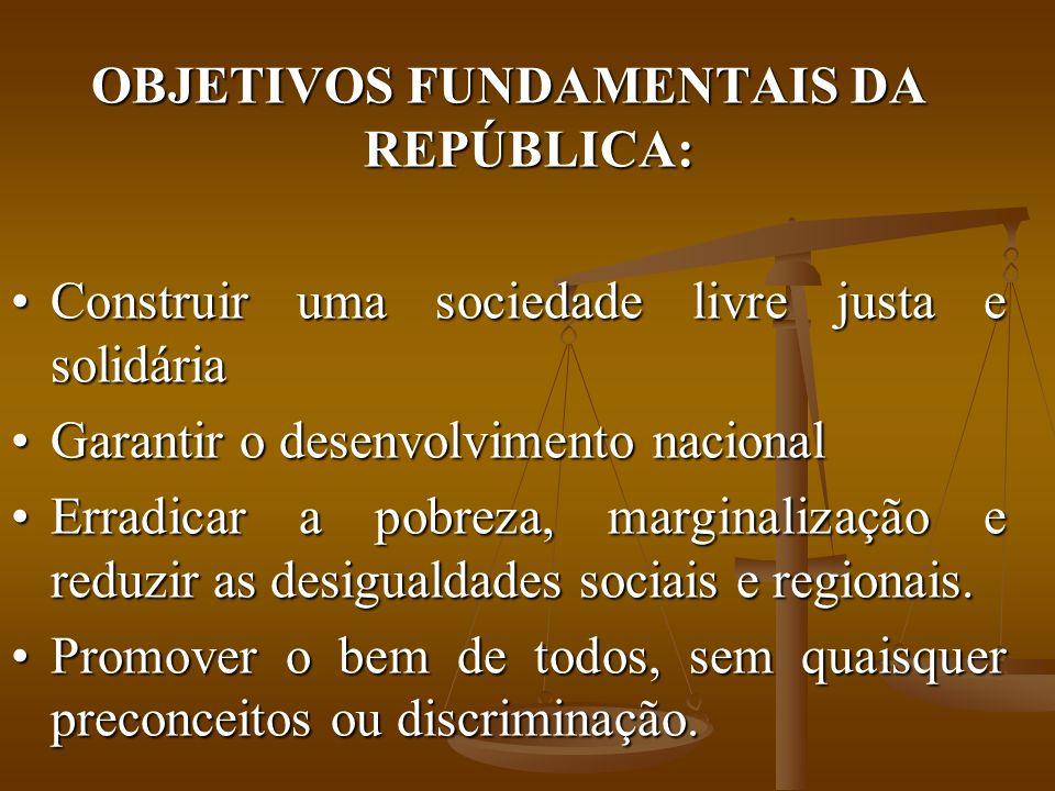 OBJETIVOS FUNDAMENTAIS DA REPÚBLICA: