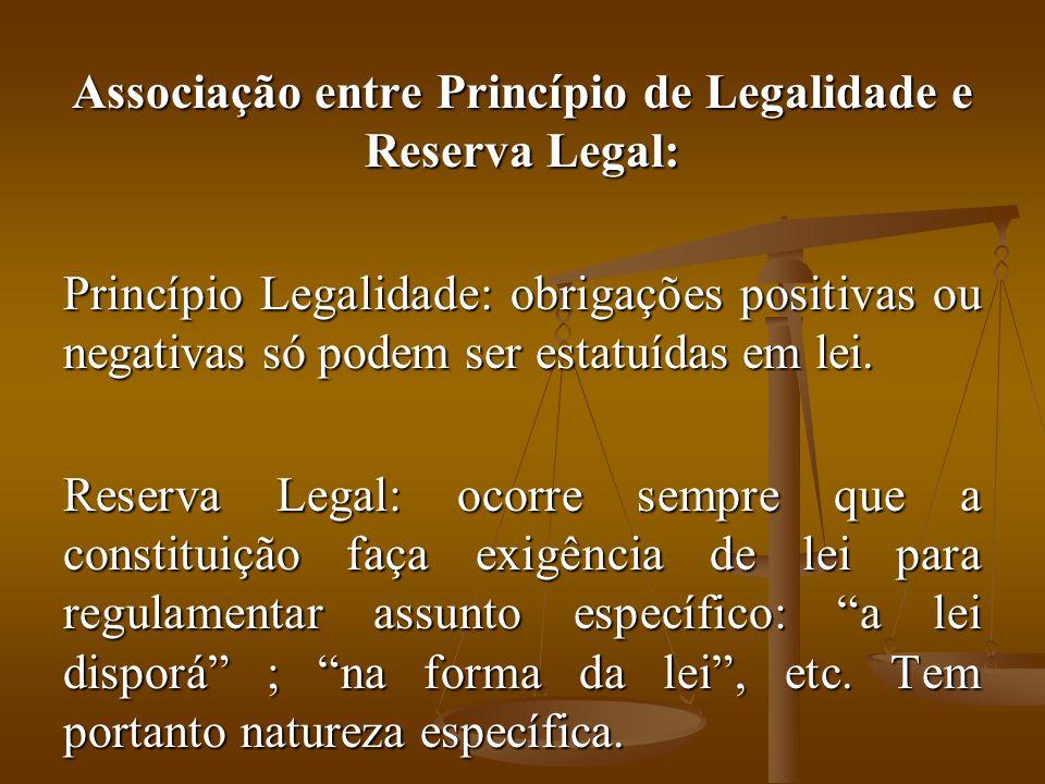 Associação entre Princípio de Legalidade e Reserva Legal: