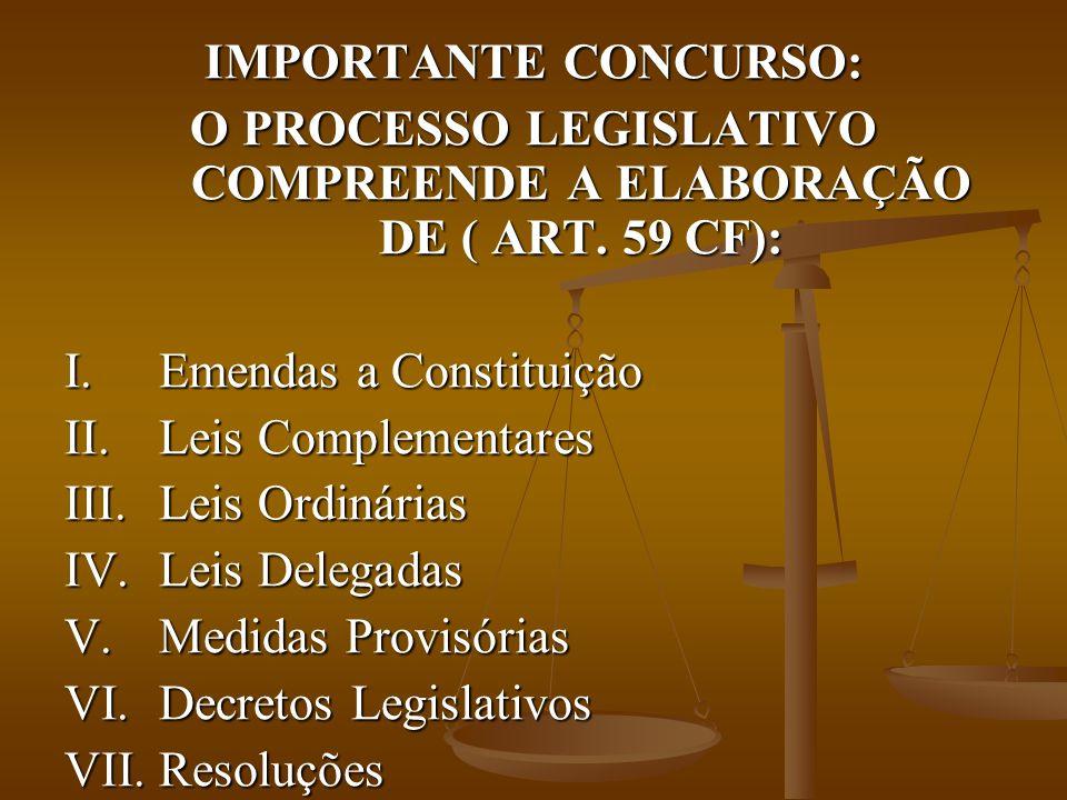 O PROCESSO LEGISLATIVO COMPREENDE A ELABORAÇÃO DE ( ART. 59 CF):