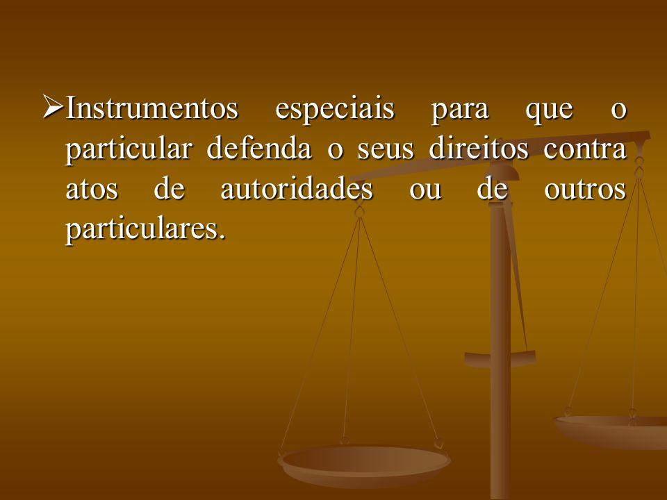 Instrumentos especiais para que o particular defenda o seus direitos contra atos de autoridades ou de outros particulares.