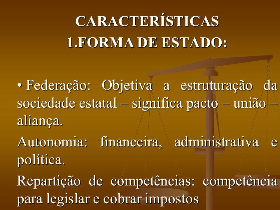 CARACTERÍSTICAS FORMA DE ESTADO: Federação: Objetiva a estruturação da sociedade estatal – significa pacto – união – aliança.
