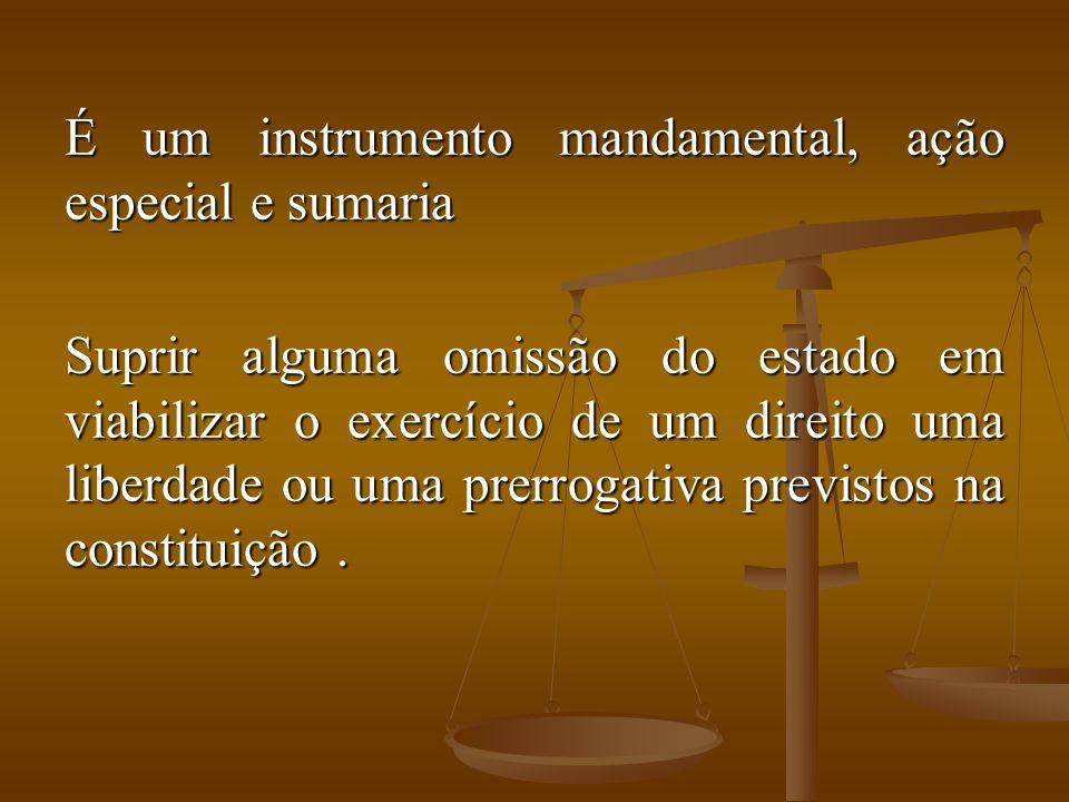 É um instrumento mandamental, ação especial e sumaria