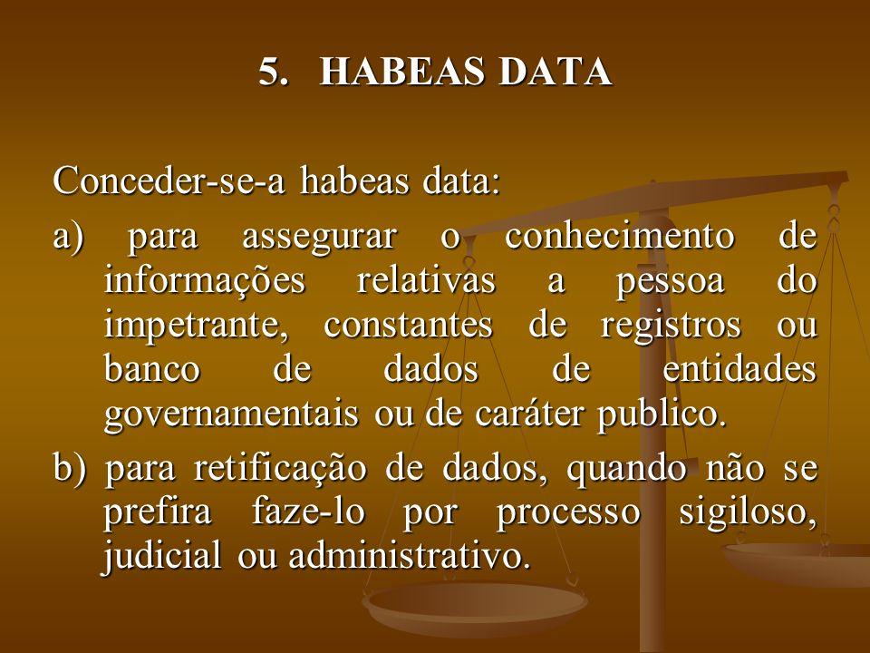 HABEAS DATA Conceder-se-a habeas data: