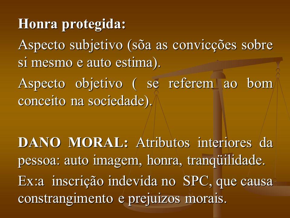 Honra protegida: Aspecto subjetivo (sõa as convicções sobre si mesmo e auto estima). Aspecto objetivo ( se referem ao bom conceito na sociedade).