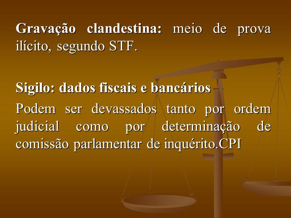 Gravação clandestina: meio de prova ilícito, segundo STF.