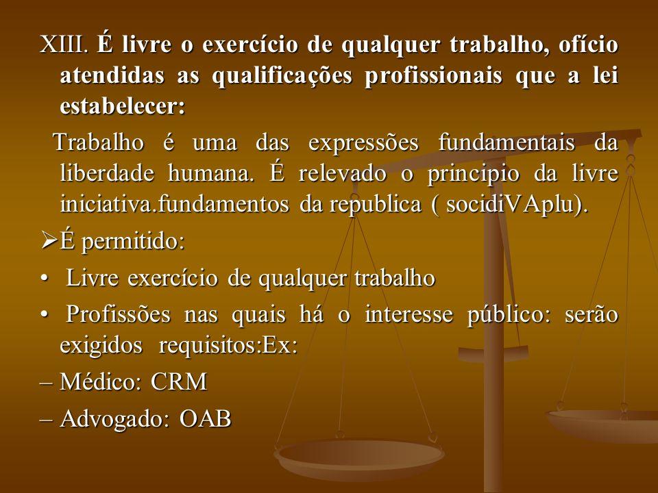 É livre o exercício de qualquer trabalho, ofício atendidas as qualificações profissionais que a lei estabelecer:
