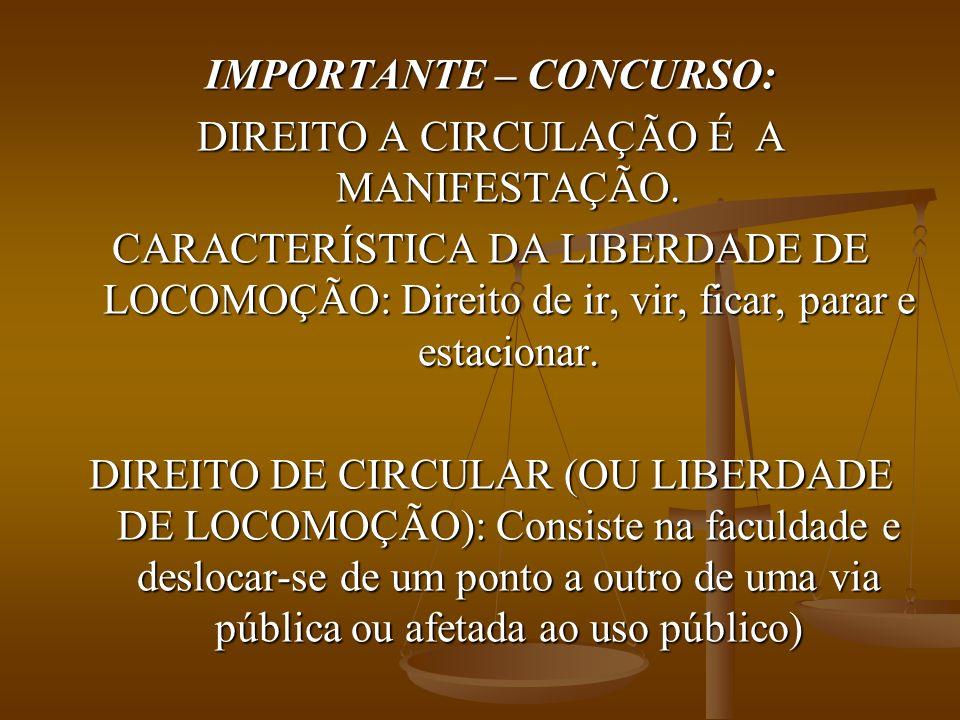 IMPORTANTE – CONCURSO: DIREITO A CIRCULAÇÃO É A MANIFESTAÇÃO.