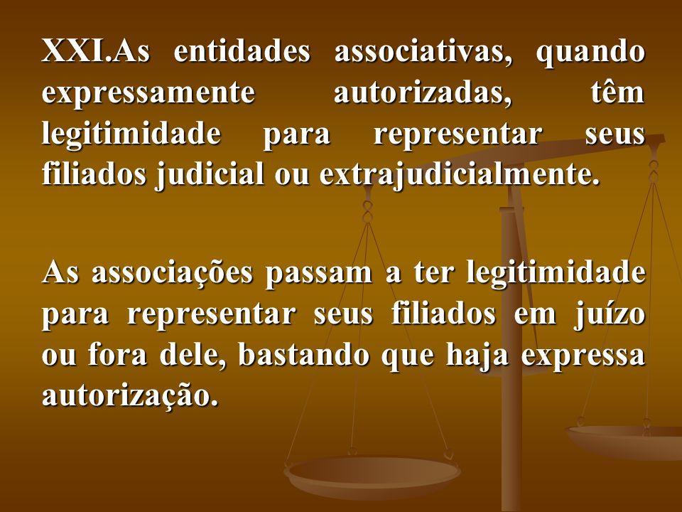 As entidades associativas, quando expressamente autorizadas, têm legitimidade para representar seus filiados judicial ou extrajudicialmente.