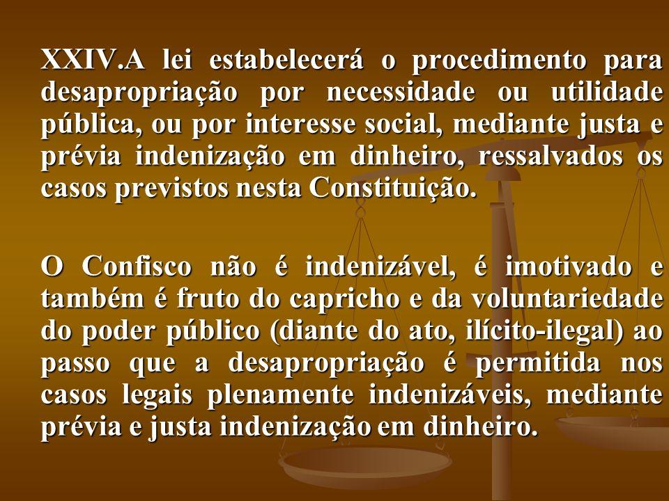 A lei estabelecerá o procedimento para desapropriação por necessidade ou utilidade pública, ou por interesse social, mediante justa e prévia indenização em dinheiro, ressalvados os casos previstos nesta Constituição.
