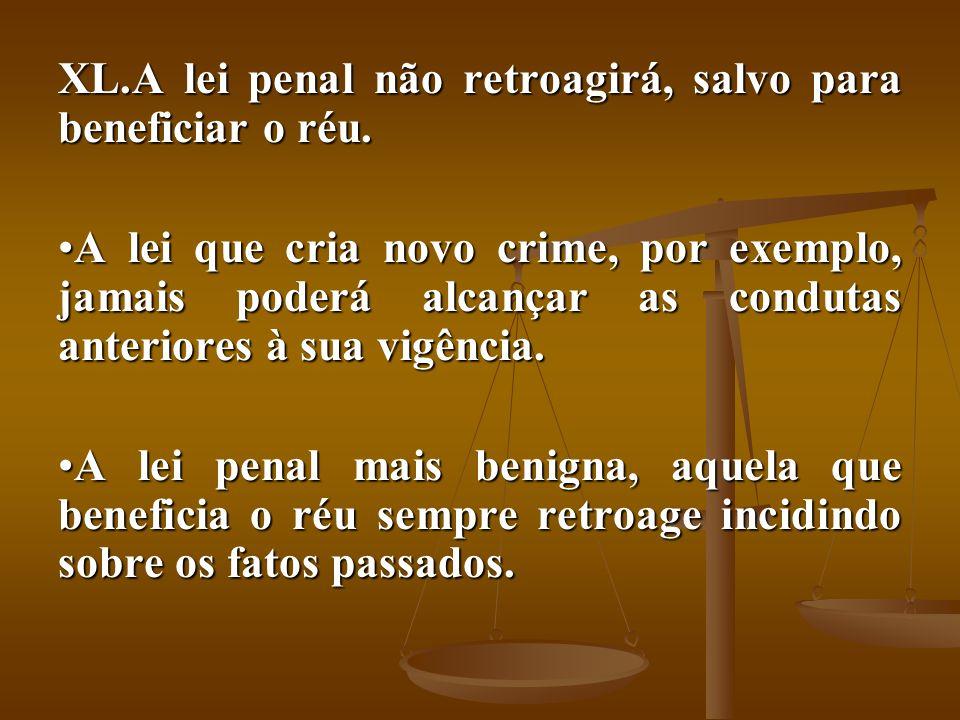 A lei penal não retroagirá, salvo para beneficiar o réu.