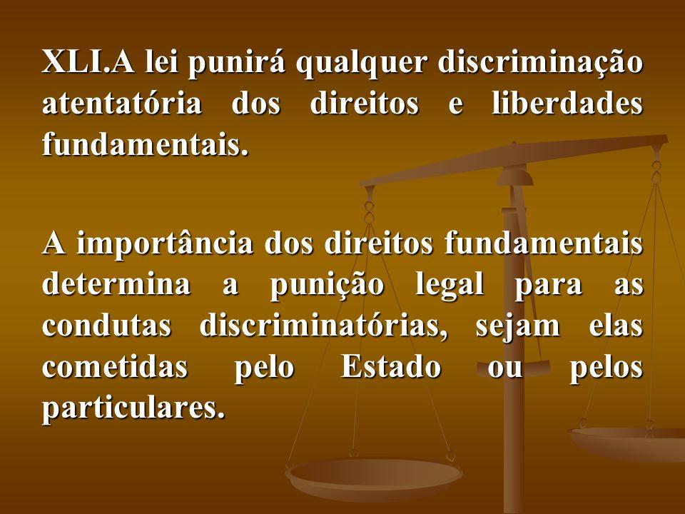 A lei punirá qualquer discriminação atentatória dos direitos e liberdades fundamentais.