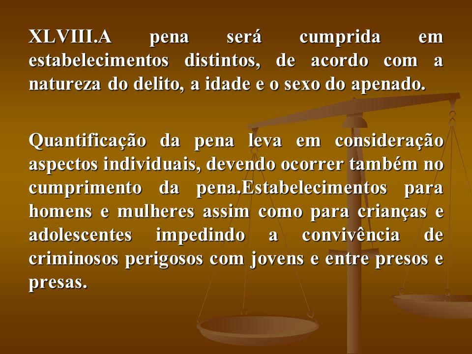 A pena será cumprida em estabelecimentos distintos, de acordo com a natureza do delito, a idade e o sexo do apenado.