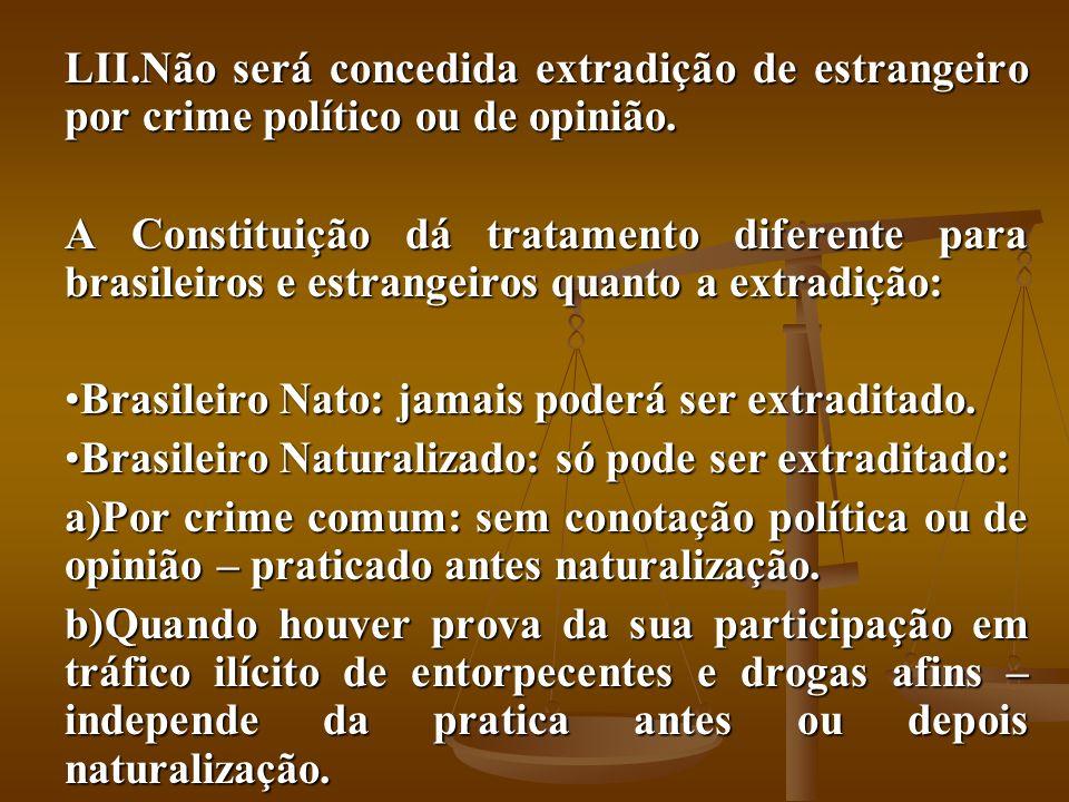 Não será concedida extradição de estrangeiro por crime político ou de opinião.